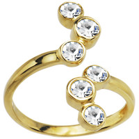 Solid 14K Yellow Gold Cubic Zirconia Bubbles Toe Ring | Body Candy Body Jewelry