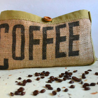 Coffee Bean Bag Pouch - Burlap pouch with Leather - upcycled
