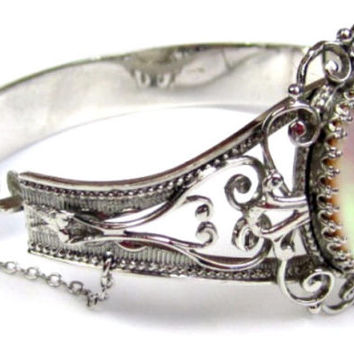 Art Deco Filigree Bangle with Earrings, Whiting and Davis, Mother of Pearl Bracelet, 1940s SPRING SALE