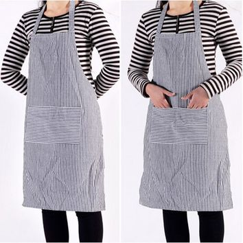 Cooking Apron for Men Women Halterneck Cotton Apron Striped Skirt with Pockets for Chefs Waiter Kitchen Home Supplies
