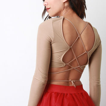 Strappy High Neck Crop Top
