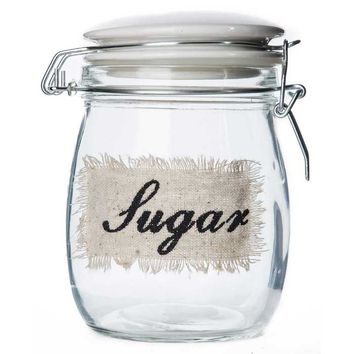Clear Glass Sugar Jar with White Ceramic Lid | Hobby Lobby