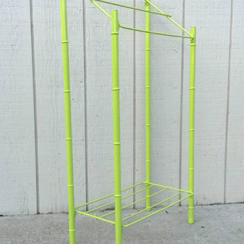 Towel Rack Quilt Rack Bathroom Shelf Metal Lime Green Faux Bamboo Mid Century Modern Guest Bath Towels Holder Freestanding Clothes Hanger