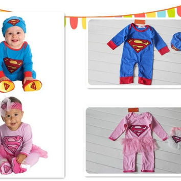 Baby conjoined clothes superman batman climb clothes + lovely hat