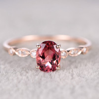 Natural Tourmaline Engagement ring,Diamond wedding band,14K Rose Gold,6x8mm Pink stone Promise Ring,Bridal Ring,Stacking Ring,Art Deco band