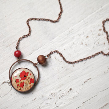 Poppies Red Flower necklace - christmasinjuly CIJ (N040)