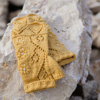 ONE DAY SALE Knit fingerless gloves, lace wool arm warmers / wrist warmers, spring fashion accessories,  yellow