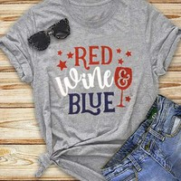 Star Red Wine & Blue T-Shirt - Bellelily