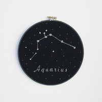 Embroidery  Hoop Art , Zodiac Signs, Aquarius, Hand painted, Astrology, Constellations