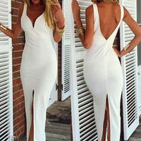 White Sleeveless Deep V-Neck Backless with High Slit Bodycon Maxi Dress