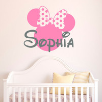 Baby Name Wall Decal- Minnie Mouse Wall Decal Personalized Girl Name Sticker Baby Kids Girls Room Decor Nursery Kids Baby Room Wall Art M063