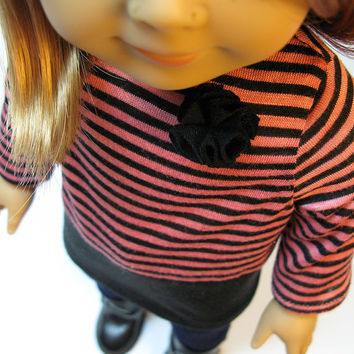 """Black and pink striped knit tunic with flower detail, jeggings and black boots for American Girl and other 18"""" Dolls"""