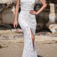 White Halter Lace Overlay Backless Maxi Dress