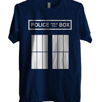 Police Phone Box Public Call Doctor Who MEN Black Shirt size XS to 2XL
