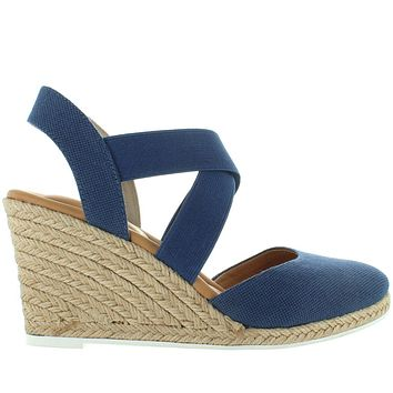Me Too Brinley - Blue Ink Washed Canvas Elasticized Crisscross Wedge Espadrille Sandal