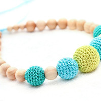 Eco-friendly Juniper Nursing Breastfeeding Necklace / Teething Toy - yellow, turquoise, green big crochet beads. Mother's Day Gift