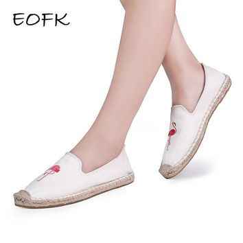 EOFK 2018 Women Flamingo Shoes Canvas Shoes Woman Causal Shoes Comfortable Slip On Fabric Flats Embroider Shoes Women Slipony
