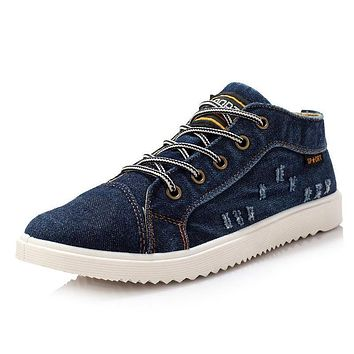 Fashion Vintage Denim Jean Canvas Shoes Men Casual Man Ankle Boots Flat Shoes Usual School Boy Footwear