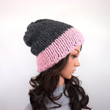 Chunky Slouchy Color Block Ski Hat Beanie Toque // The Nora // in Granite and Blossom