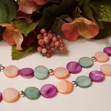 Multi-colored Mother of Pearl Bead Necklace in Bright Colors - CIJ Christmas in July SALE
