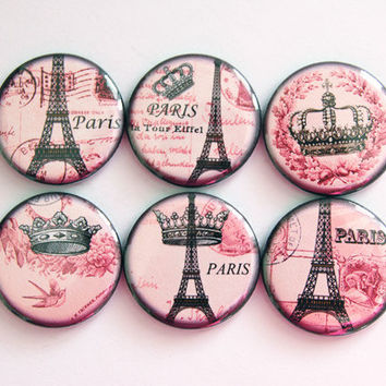 Paris Magnets, Travel magnets, Eiffel Tower magnets, Pink, button magnets, Kitchen Magnets, Paris, Eiffel Tower, stocking stuffer (3420)