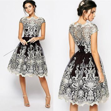 Temperament Fashion Retro Gauze Embroidery Short Sleeve Formal Evening Dress Pompon Dress