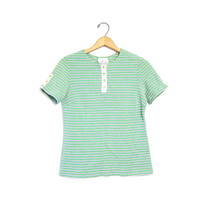 Jantzen Striped 70s Mod Tee Short Sleeved Retro Green White Blue Button Front Henley Tshirt 1970s Hippie Preppy Top Small Louannes Vintage