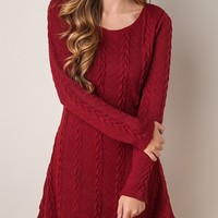2 Colors A-line Plain Glamorous Round Neck Knitted Dress