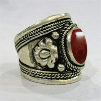 Large Adjustable Tibetan Silver Orange Red Agate Gemstone Multi-Weaving Dotted Dorje Amulet Ring Thumb Ring