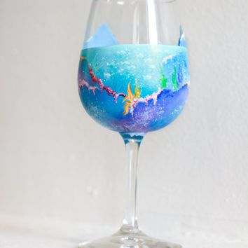 Under the Sea Hand Painted Wine Glass