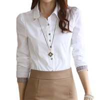 Women Formal White Shirts S-5XL Long Sleeve Female Lady Casual Blouse Tops Turn-Down Neck Chiffon Blouses Work Shirt 32646