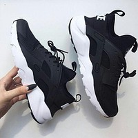 "simpleclothesv : ""NIKE""AIR Huarache Running Sport Casual Shoes Sneakers Black(white soles)"