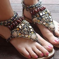 2013 new fashion retro Bohemian rivet bead flat sandals Gladiator