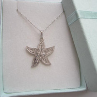 Sea Life Collection Silver Starfish Necklace. Silver Starfish pendant. Handcrafted Starfish Necklace.