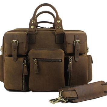 Genuine Leather luggage travel bag