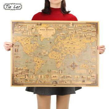 Vintage World Map Great Building- Wonders of the world- Paper Poster Wall Sticker Art Craft Map Bar Cafe Decor-Home Decor
