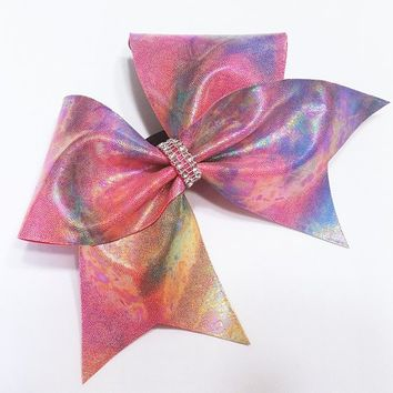 Cheer bow, Rainbow cheer bow, oil spill cheer bow, cheerleading bow, cheerleader bow, dance bow, soft ball bow, cheer bows, rec cheer bow