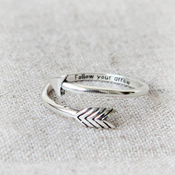Personalized Arrow Ring in 925 sterling silver