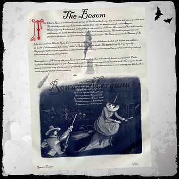 WITCH'S BESOM, Digital Download, Book of Shadows Page, Grimoire, Scrapbook, Spells