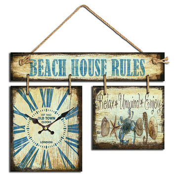BEACH HOUSE Wall Clock & Wall Art ,Beach,Summer Style 15x19x2 Inches