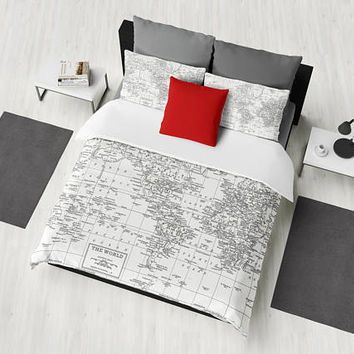 White World Map Duvet Cover - white and gray - bed - bedroom, travel decor, cozy soft, white, winter, warm, dorm room decor, wanderlust
