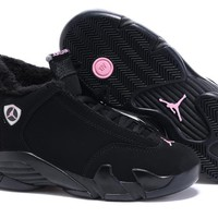 Air Jordan 14 Retro AJ14 Black Women Sneaker Shoe With Velvet Lining.