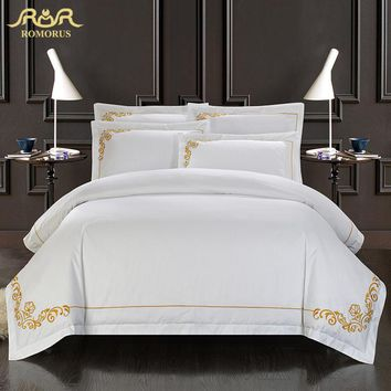 ROMORUS 100% Cotton Tribute Silk Bedding Set White Embroidered Hotel Duvet Cover Set King Queen Size Hotel Bedding Sheets Set