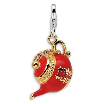 925 Sterling Silver Gold-plated Red Enameled Tea Pot with Lobster Clasp Charm