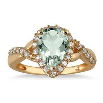 1.50 Carat Pear Shape Green Amethyst and Diamond Ring in 10K Yellow Go