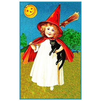 Vintage Halloween Little Witch Broom Black Cat by Frances Brundage Counted Cross Stitch Pattern