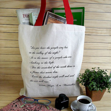LES MISERABLES Book Bag Canvas Book Quote Tote Bag - Choose your color Strap - Literary Tote Library Bag