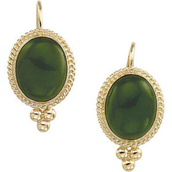 14K Yellow Nephrite Jade Cabochon Earrings