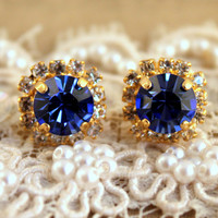 Stud Crystal earrings in blue cobalt - 14 k plated gold post earrings real swarovski rhinestones.