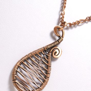 Handmade Copper Pendant, Wire Wrapped